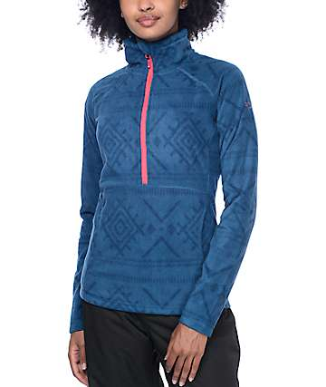 Roxy Cascade Half Zip Mock Legion Blue Tech Fleece
