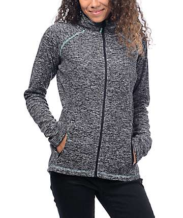 Roxy Harmony Full Zip Charcoal Tech Fleece
