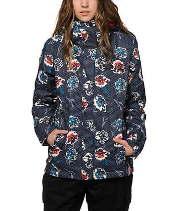 Roxy Jetty Blue Floral 10K Snowboard Jacket