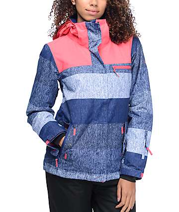 Roxy Jetty Huge Stripe Blue & Pink 10K Snowboard Jacket