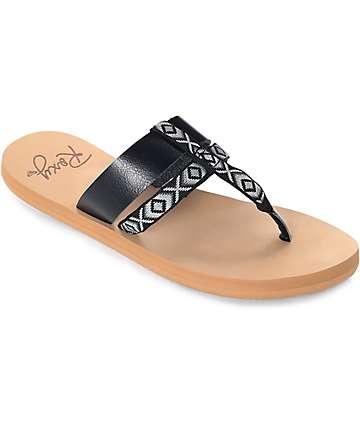 Roxy Kahula sandalias en negro y marrón