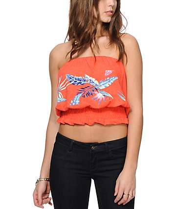 Roxy Kauai Firey Orange Strapless Tank Top