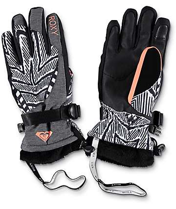 Roxy Merry Go Round Black & White Snowboard Gloves