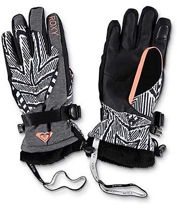 Roxy Merry Go Round guantes de snowboard en blanco y negro