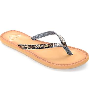 Roxy Nevis Black & Gold Print Sandals