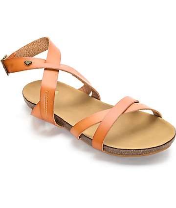 Roxy Safi Tan Cross Strap Sandals