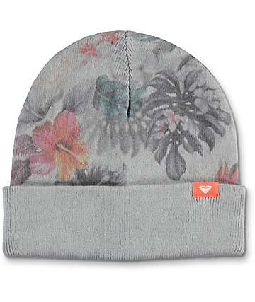Roxy Snow Street Grey & Floral Reversible Beanie