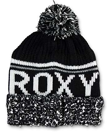 Roxy Tonic Black & White Pom Beanie