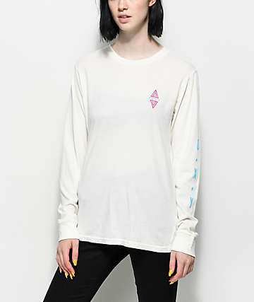 Roxy Tribal Diamond White Long Sleeve T-Shirt