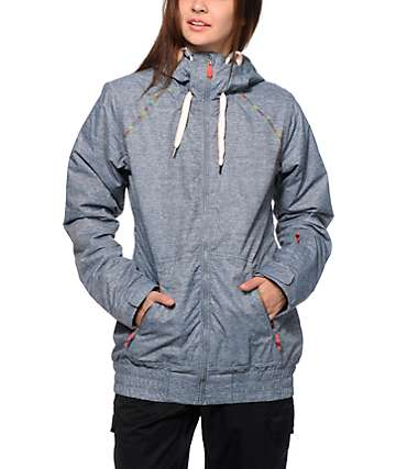 Roxy Valley Hoodie Grey 10K Snowboard Jacket