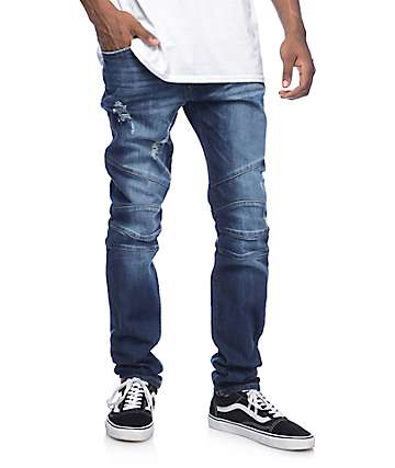 Rustic Dime Biker Napalm Indigo Shredded Jeans