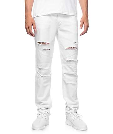 Rustic Dime Biker White Shredded Jeans