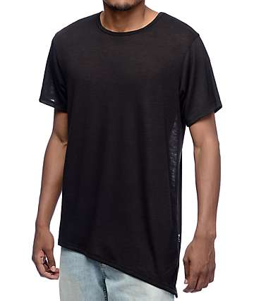 Rustic Dime Black Asymmetrical Elongated T-Shirt