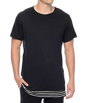 Rustic Dime Black Layer Striped Long T-Shirt