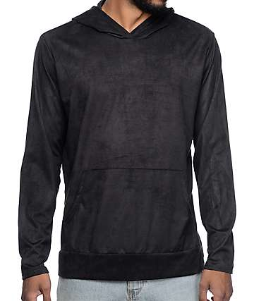 Rustic Dime Black Suede Hooded Long Sleeve T-Shirt
