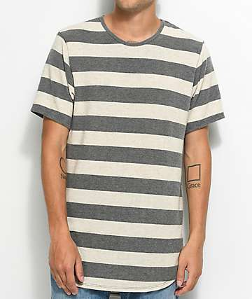 Rustic Dime Brushed Hacci White & Grey Striped Elongated T-Shirt