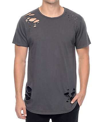 Rustic Dime Charcoal Distressed Long T-Shirt