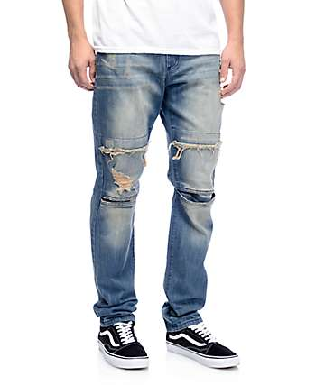 Rustic Dime Dirty Indigo Moto Distressed Jeans
