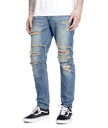 Rustic Dime Dirty Ripped Knee Jeans