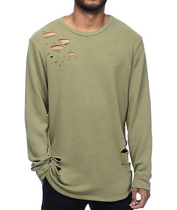 Rustic Dime Distressed Olive Long Sleeve Knit Sweatshirt