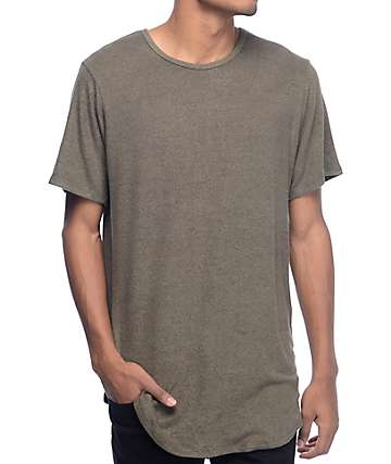 Rustic Dime Heather Olive & Black Elongated T-Shirt