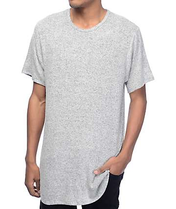 Rustic Dime Heather White & Black Elongated T-Shirt