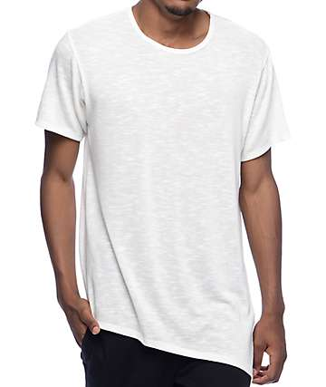 Rustic Dime Ivory Asymmetrical Elongated T-Shirt