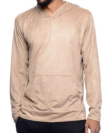 Rustic Dime Khaki Suede Hooded Long Sleeve T-Shirt