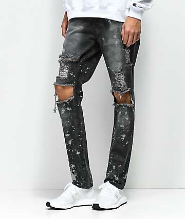 Rustic Dime Knee Blowout Concrete Camo & Black Denim Jeans