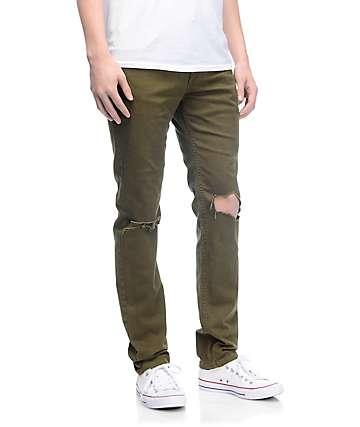 Rustic Dime Knee Blowout jeans en verde olivo
