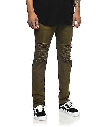Rustic Dime Krueger jeans rotos en verde olivo