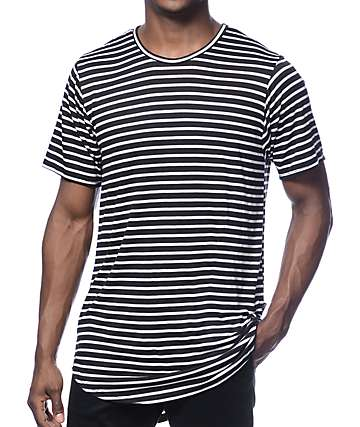 Rustic Dime Long Black Striped Tee