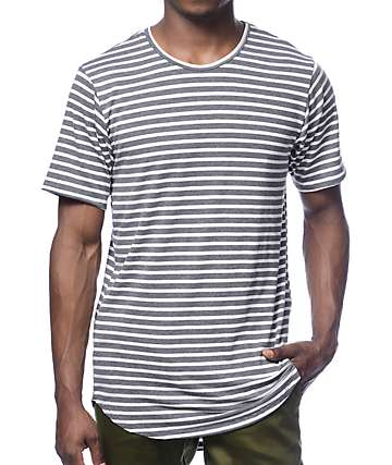 Rustic Dime Long Grey Striped T-Shirt