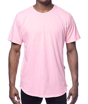 Rustic Dime Long Solid Pink T-Shirt