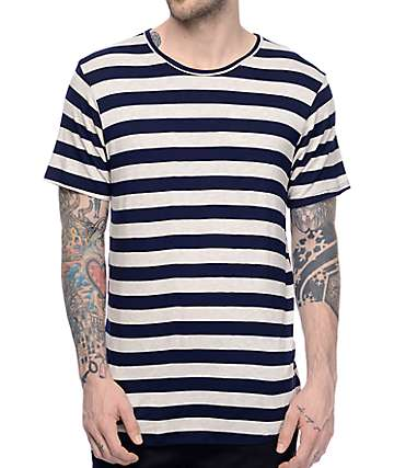 Rustic Dime Navy & Sand Rugby Stripe Long T-Shirt