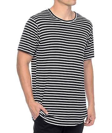 Rustic Dime Navy Striped Long T-Shirt