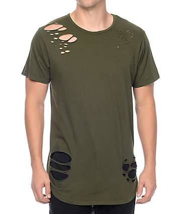 Rustic Dime Olive Distressed Long T-Shirt