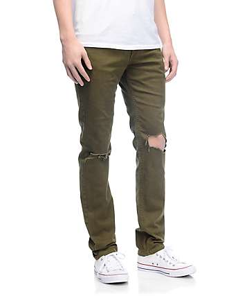 Rustic Dime Olive Knee Blowout Taper Fit Jeans