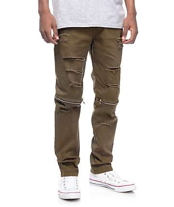 Rustic Dime Olive Slice Knee Zip Olive Denim Pants