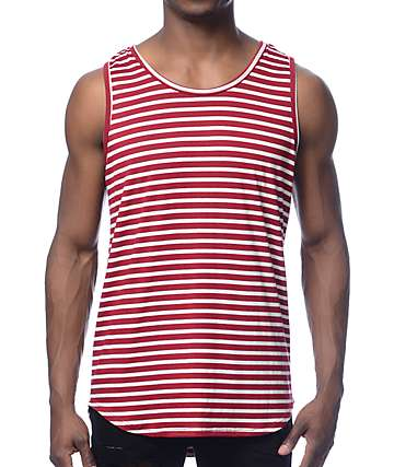 Rustic Dime Red Stripe Long Tank