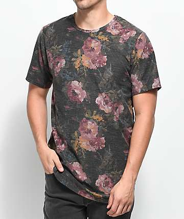 Rustic Dime Rose Charcoal Floral Elongated T-Shirt