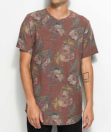 Rustic Dime Rose Floral Camo Elongated T-Shirt