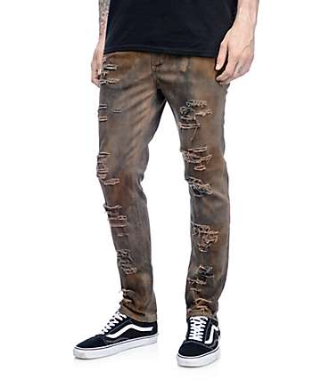 Rustic Dime Rusted Olive Shredded Jeans