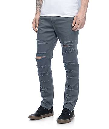 Rustic Dime Silver Pine Shredded Taper Fit Jeans