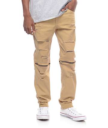 Rustic Dime Slice Knee Zip Khaki Denim Pants