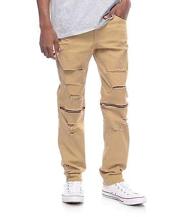 Rustic Dime Slice Knee Zip Khaki Denim Pants
