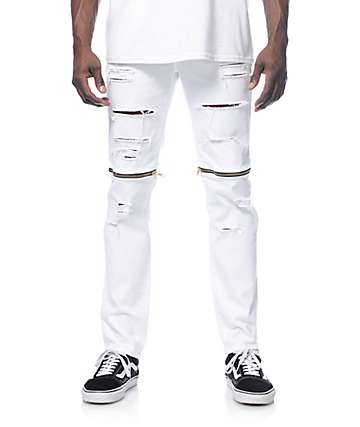 Rustic Dime Slice Knee Zip White Jeans