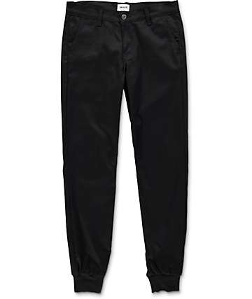 Rustic Dime Sunset  Black Twill Jogger Pants