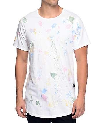 Rustic Dime Tie Dye Dots White Long T-Shirt
