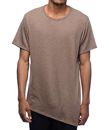 Rustic Dime Toffee Asymmetrical Elongated T-Shirt
